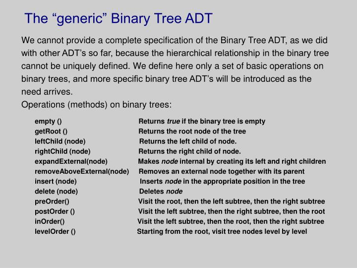 "The ""generic"" Binary Tree ADT"