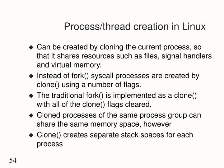 Process/thread creation in Linux