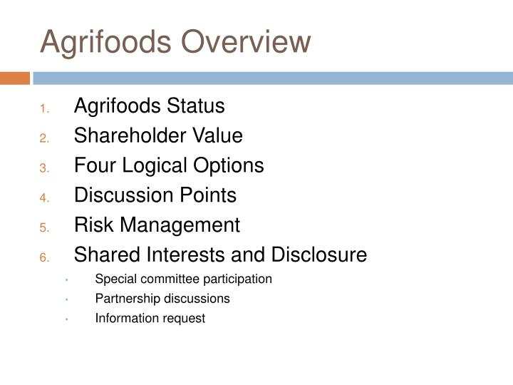 Agrifoods Overview