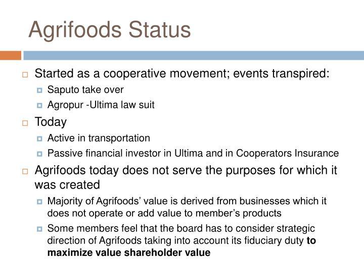 Agrifoods Status