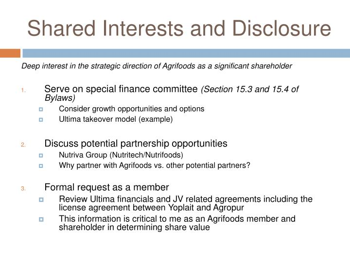 Shared Interests and Disclosure