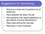 suggestions for interviewing