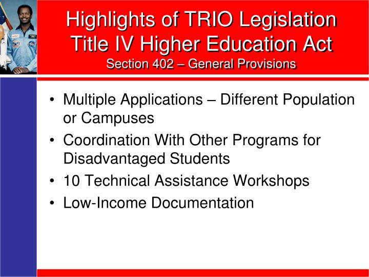 Highlights of TRIO Legislation