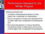 performance indicators for the mcnair program