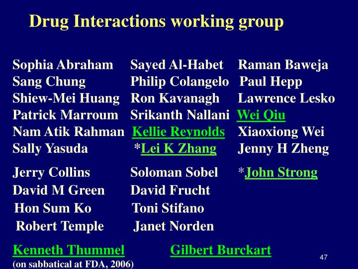Drug Interactions working group