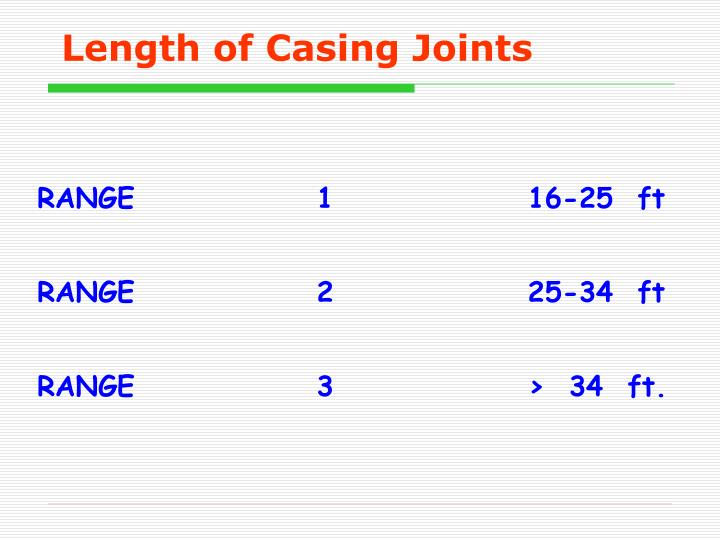 Length of Casing Joints