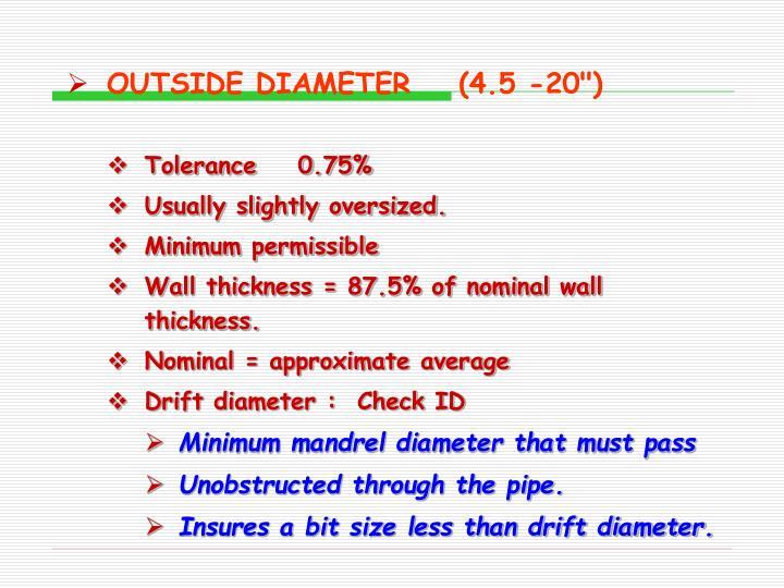 """OUTSIDE DIAMETER(4.5 -20"""")"""