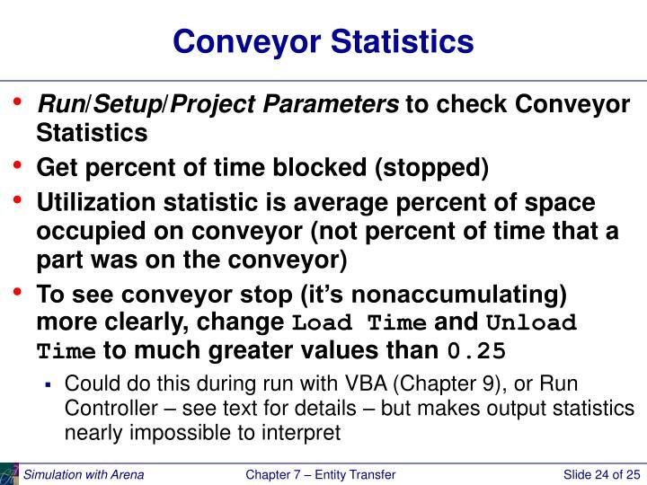 Conveyor Statistics