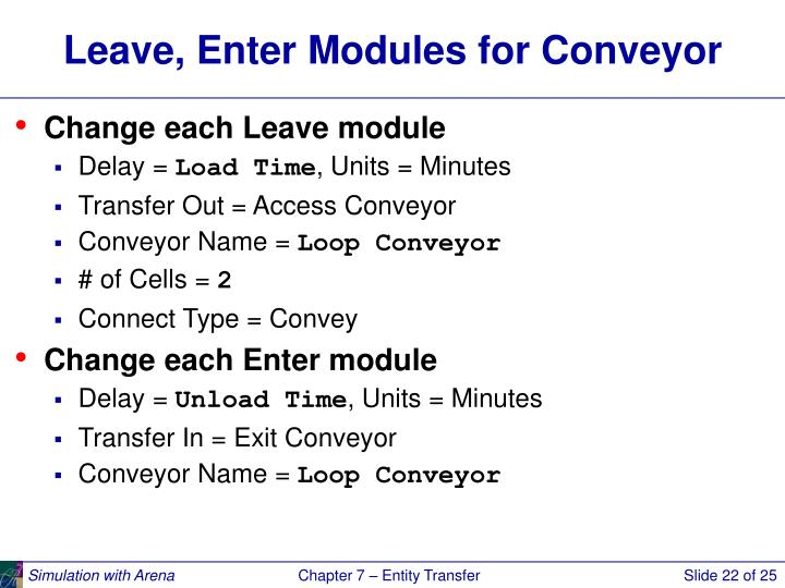 Leave, Enter Modules for Conveyor