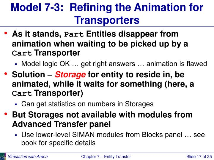 Model 7-3:  Refining the Animation for Transporters