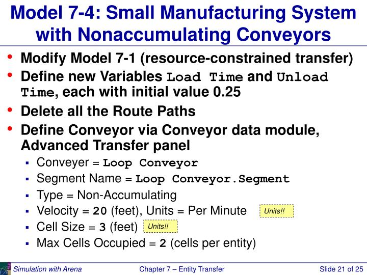 Model 7-4: Small Manufacturing System with Nonaccumulating Conveyors