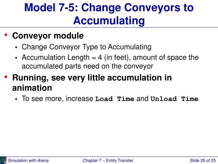 Model 7-5: Change Conveyors to Accumulating