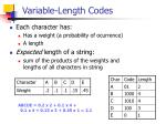 variable length codes