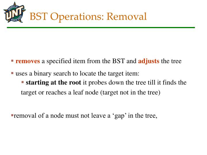 BST Operations: Removal