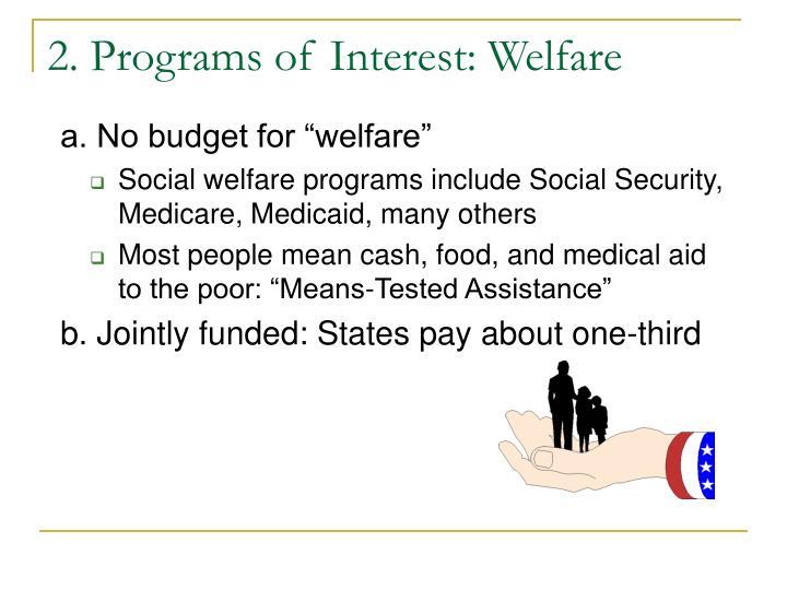 2. Programs of Interest: Welfare