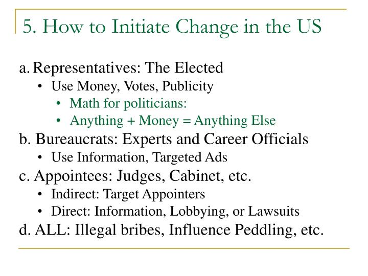 5. How to Initiate Change in the US