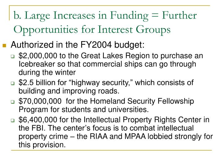 b. Large Increases in Funding = Further Opportunities for Interest Groups