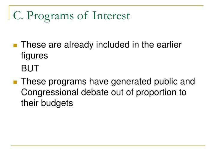 C. Programs of Interest