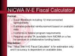 nicwa iv e fiscal calculator
