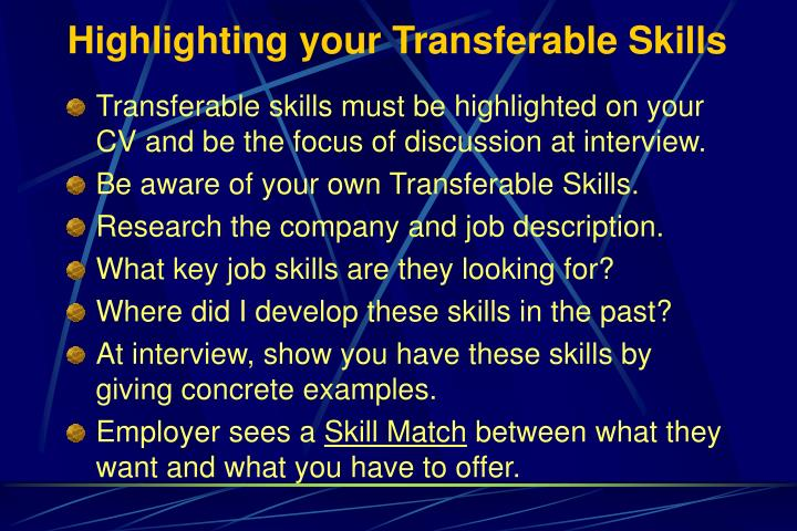 Highlighting your Transferable Skills