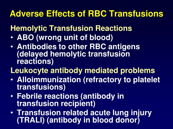 Adverse Effects of RBC Transfusions