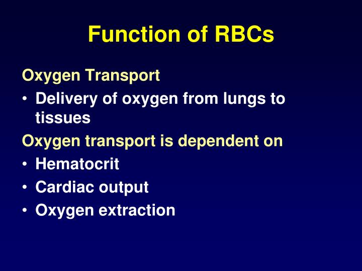 Function of RBCs