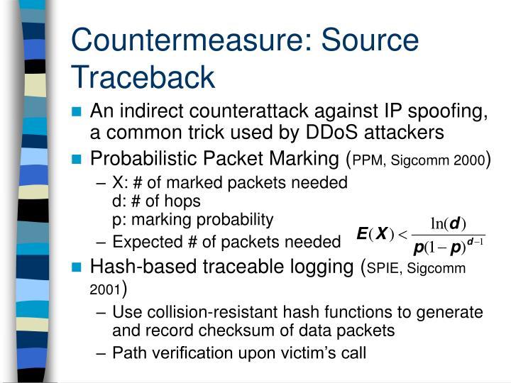 Countermeasure: Source Traceback