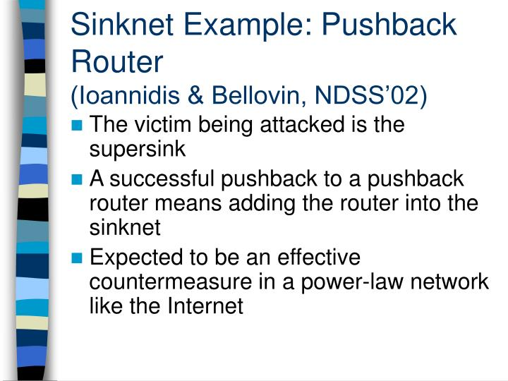 Sinknet Example: Pushback Router
