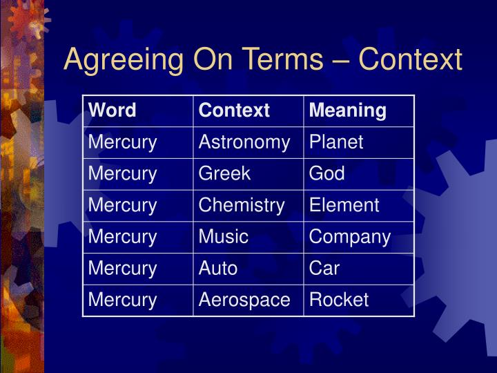 Agreeing On Terms – Context