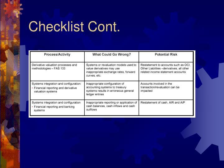 Checklist Cont.