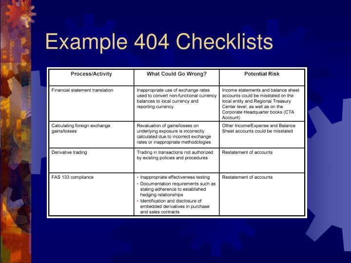 Example 404 Checklists