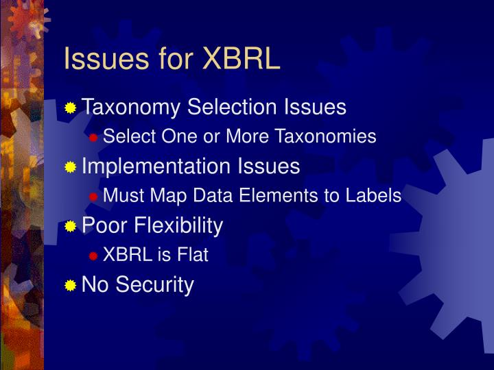 Issues for XBRL