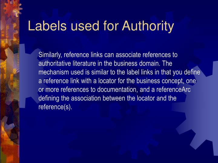 Labels used for Authority