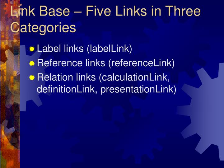 Link Base – Five Links in Three Categories