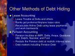other methods of debt hiding