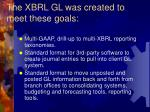 the xbrl gl was created to meet these goals