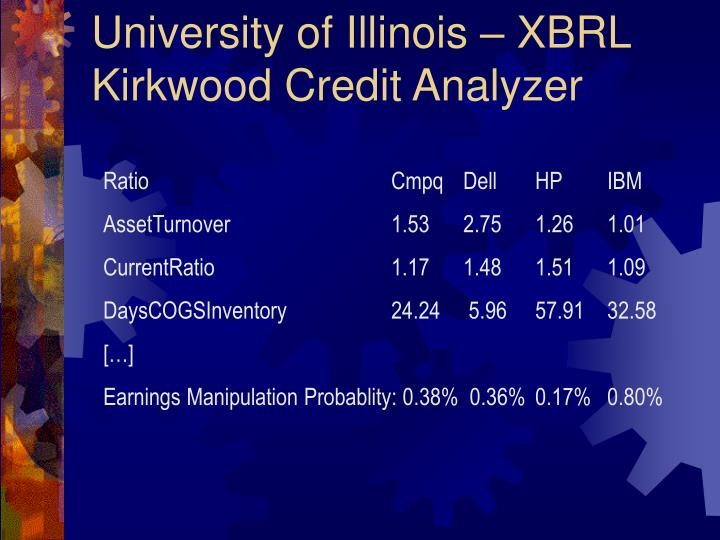 University of Illinois – XBRL Kirkwood Credit Analyzer