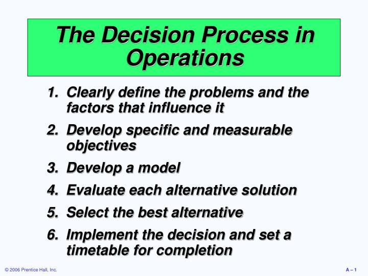 The decision process in operations