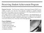 preserving student achievement program
