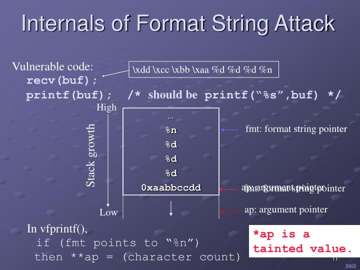 fmt: format string pointer