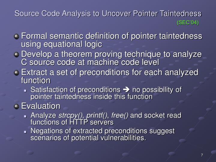 Source Code Analysis to Uncover Pointer Taintedness