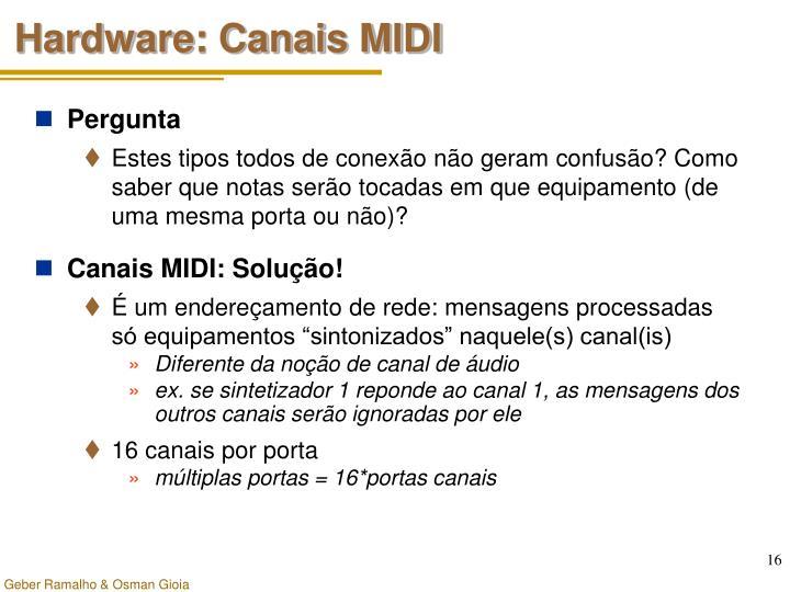 Hardware: Canais MIDI