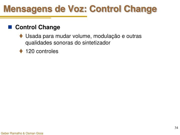 Mensagens de Voz: Control Change