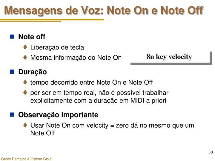 Mensagens de Voz: Note On e Note Off