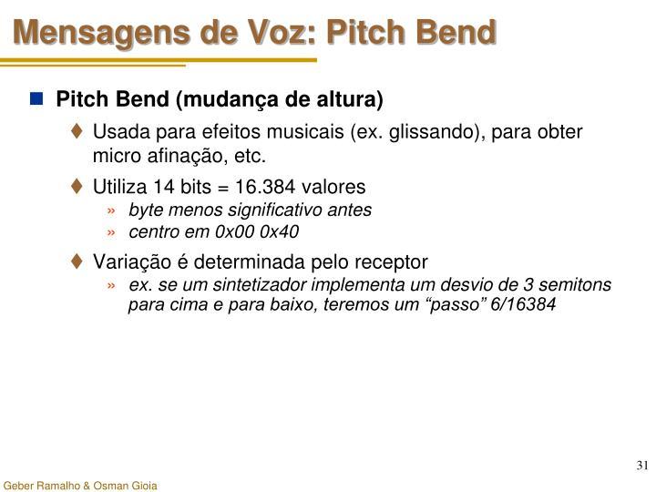 Mensagens de Voz: Pitch Bend