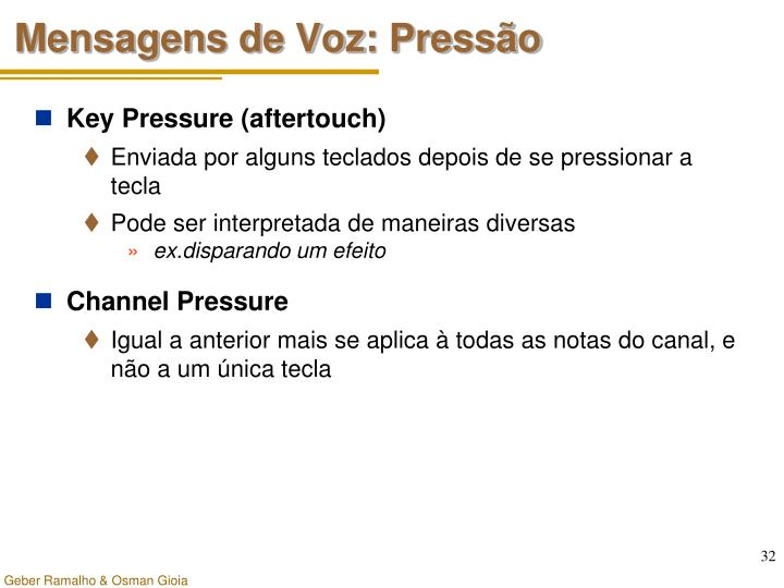 Mensagens de Voz: Pressão