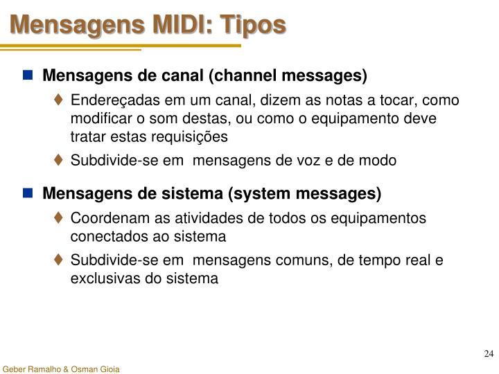 Mensagens MIDI: Tipos