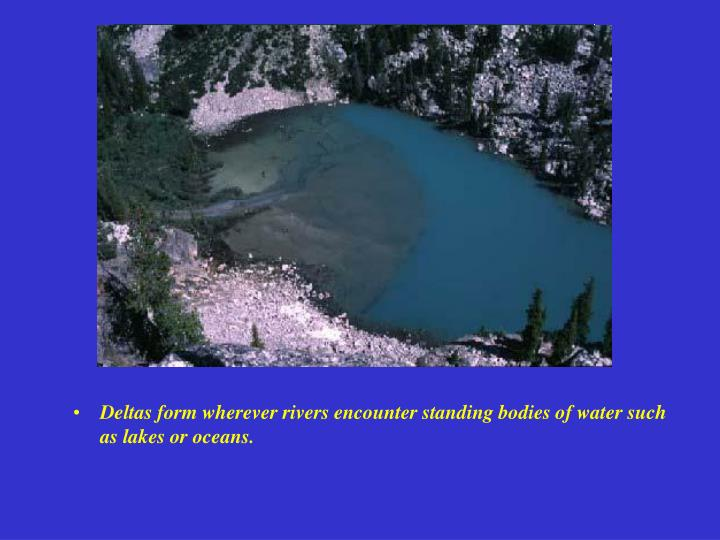 Deltas form wherever rivers encounter standing bodies of water such as lakes or oceans.