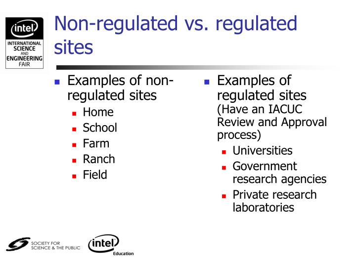 Examples of non-regulated sites