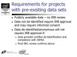 requirements for projects with pre existing data sets